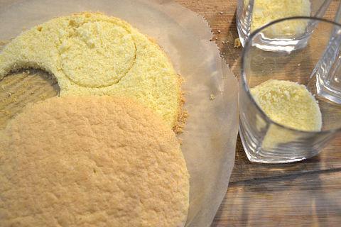 Kaesesahne-Tortenboden Dessert im Glas